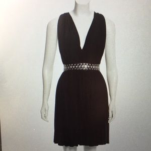 ALEXANDER WANG bk crossover leather-trimmed dress